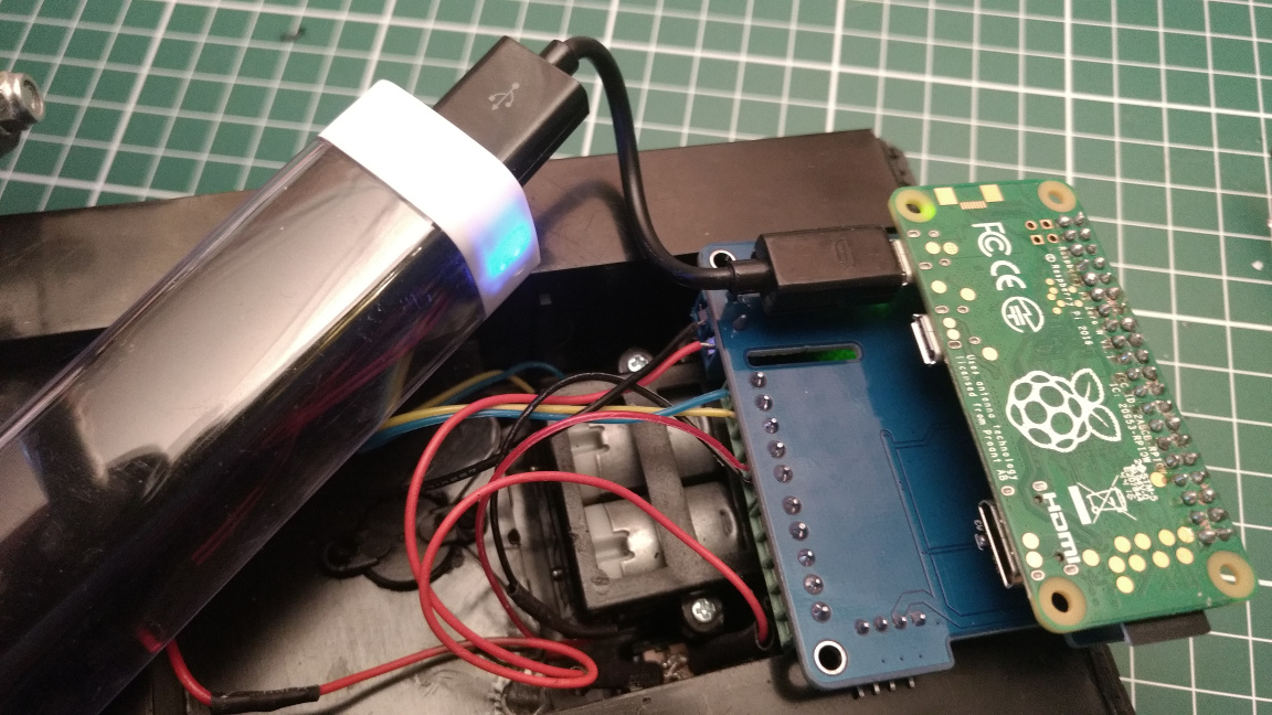 Pi with attached MotorHAT