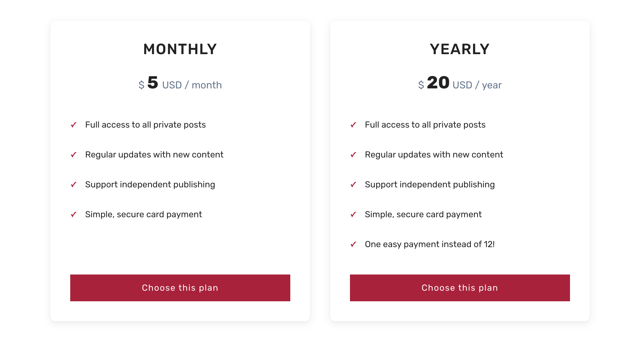 Subscription plans in Nubia