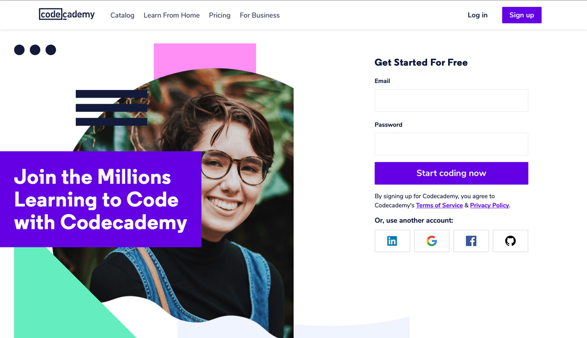 Code academy homepage for aspiring web developers