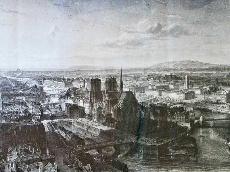Notre-Dame on Ile de la Cite in the centre of Paris in 1860