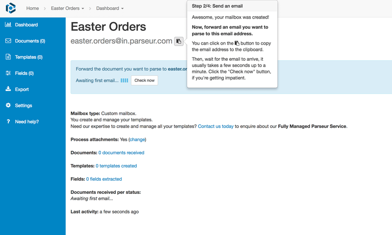 Parseur awaits for your first email
