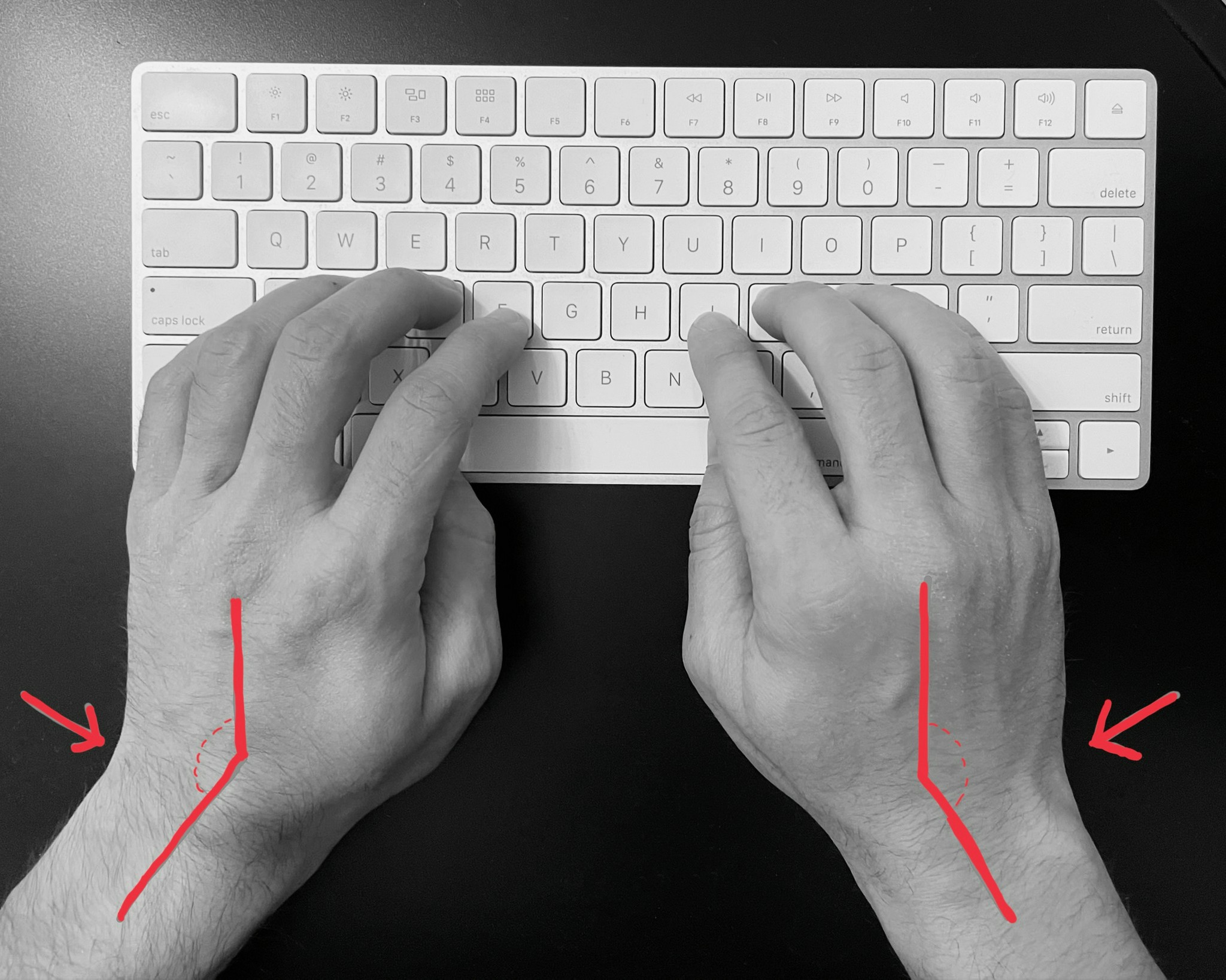 Using the keyboard in this position for a long time causes pain
