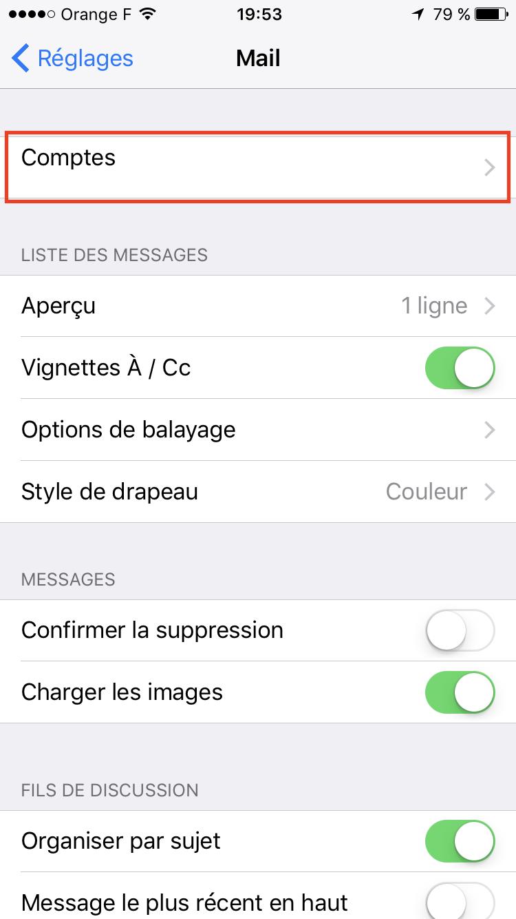 Etape 2 : Menu Comptes sur iPhone