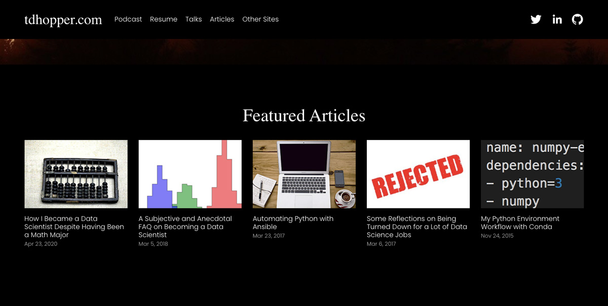 A screen grab from Tim Hopper's portfolio website, showing featured blog articles