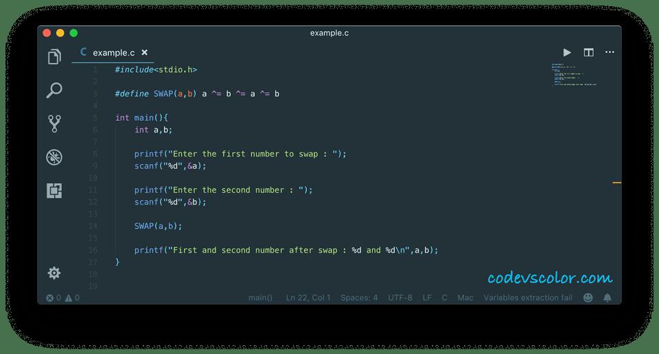 c swap numbers using macro