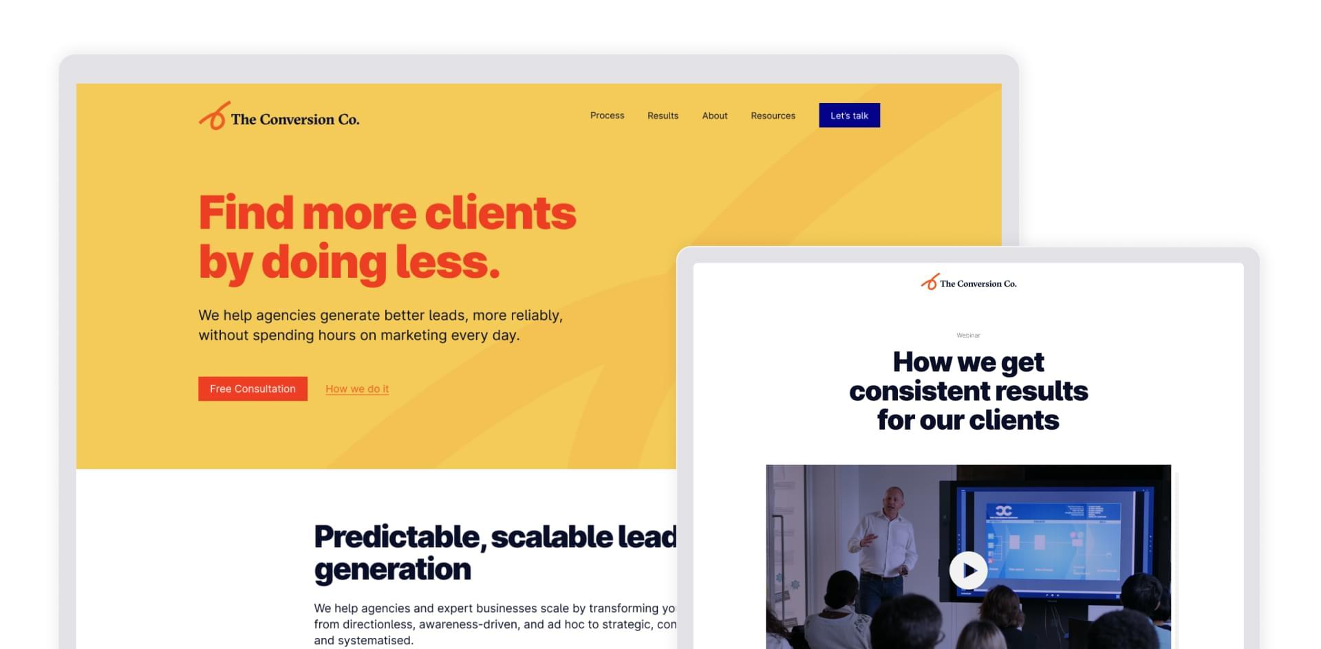 Website design for B2B marketing agency