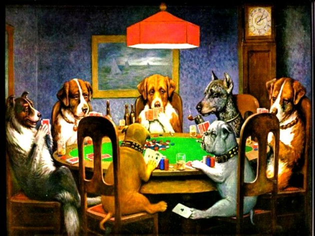 Testing is table stakes. You can't get away for long without it. picture is dogs playing poker