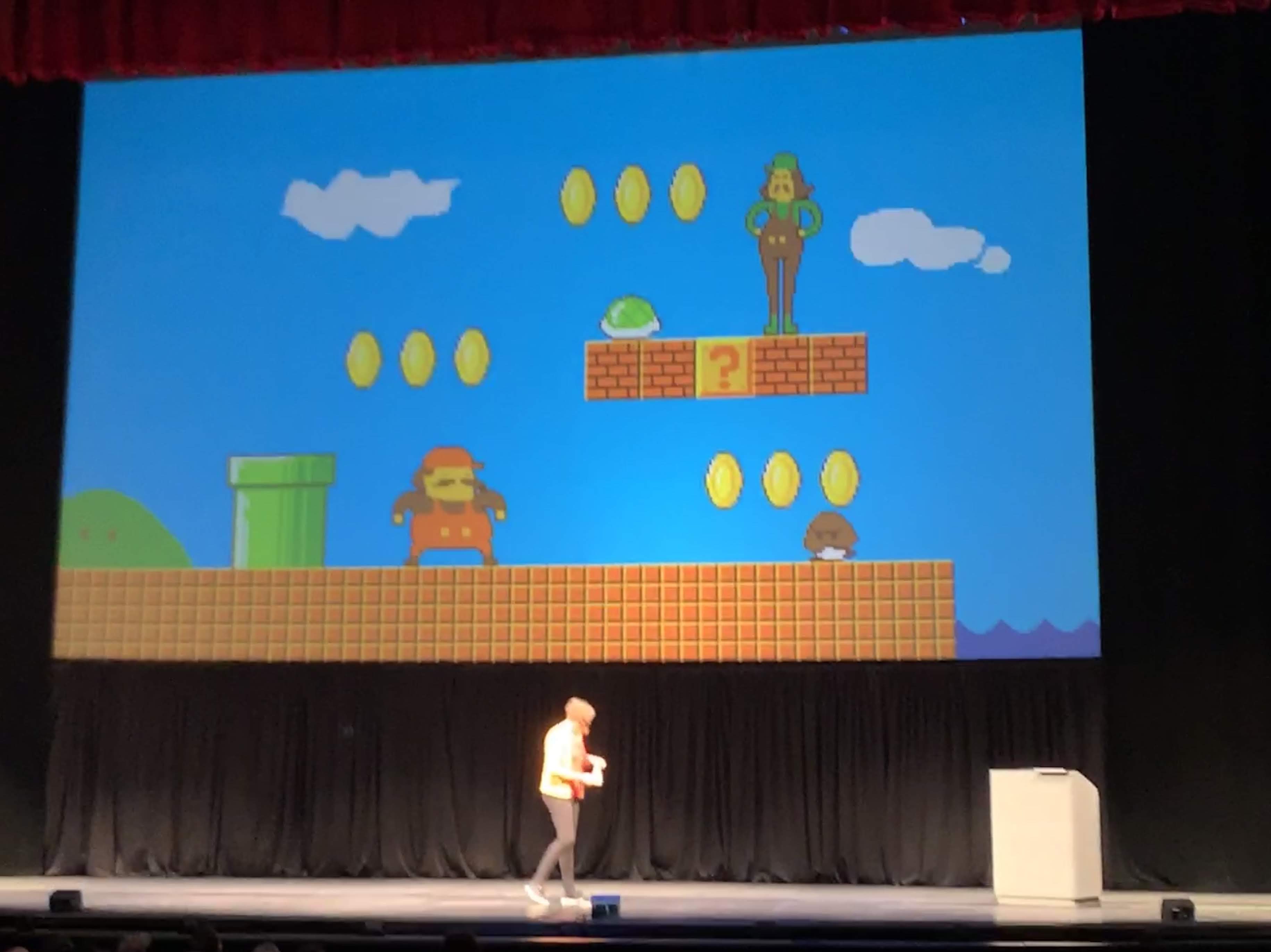 Ayla Myes presenting Mario Brothers like image she made