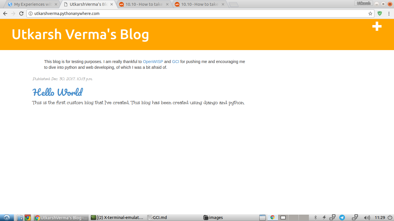 The first site I created using Django