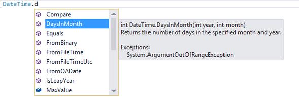 Intellisense Visual Studio 2013