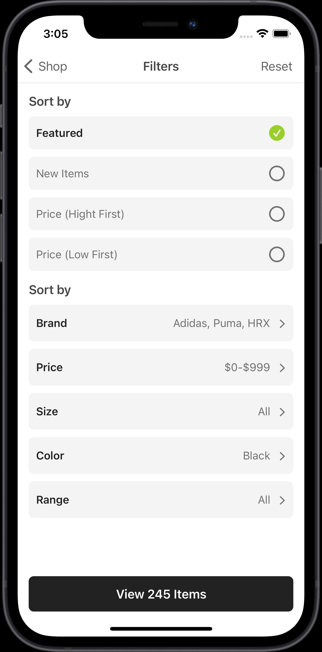 e-commerce, filters, range, adidas