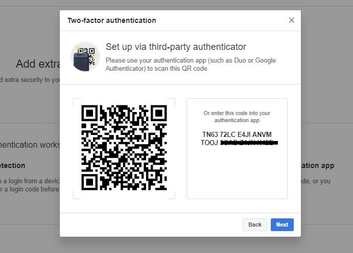Scan QRCode to connect app to Facebook