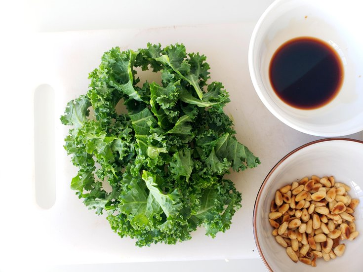 Kale, pine nuts, and balsamic