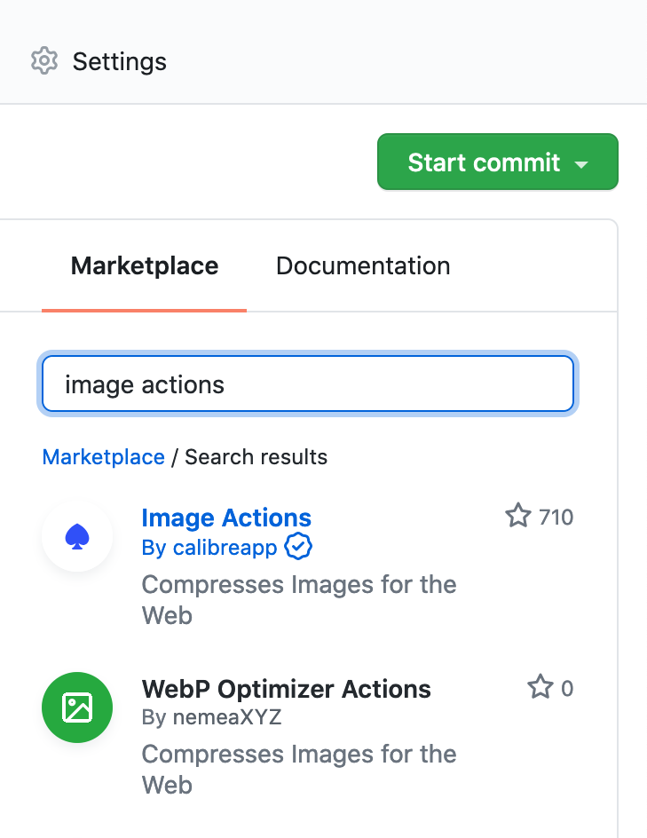 Search for Image Actions