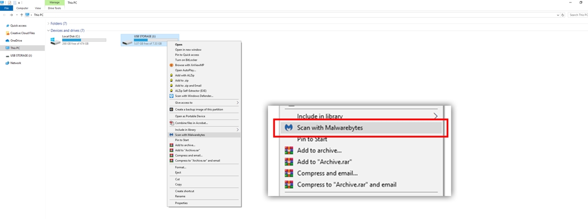 image showing a user how to scan a drive for malware using the context menu