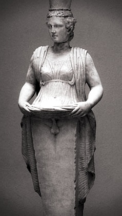 statue of hermaphroditus lifting her dress