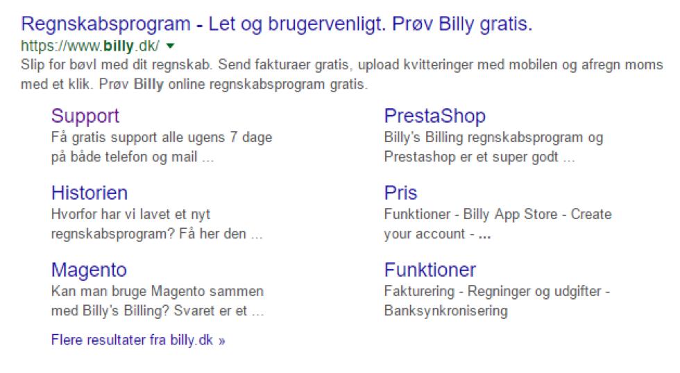 Billy Regnskabsprogram og meta og title beskrivelser
