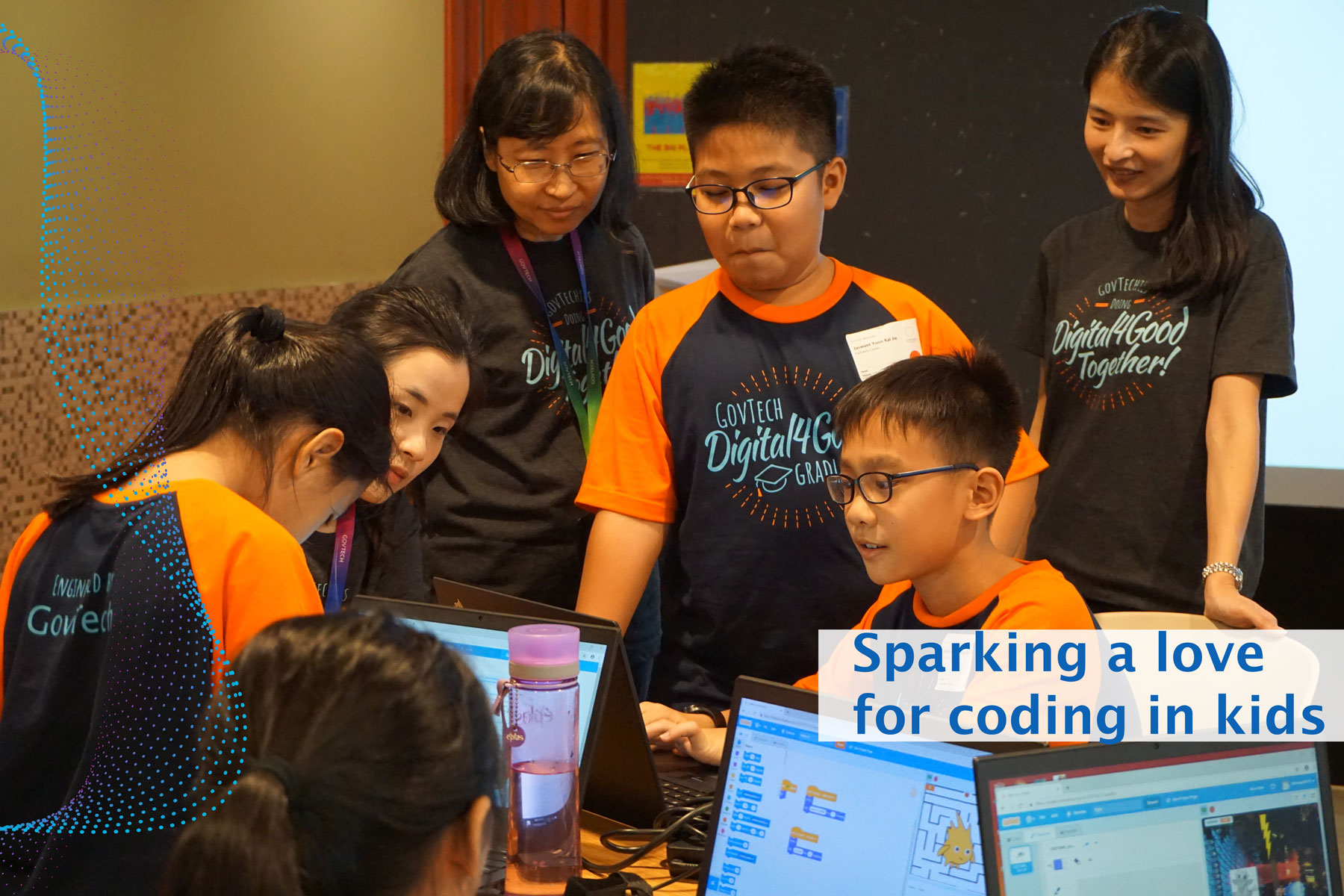 Teaching Scratch coding to kids by GovTech volunteers in a Smart Nation