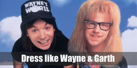 Wayne and Garth look dress very casually. Wayne prefers something plainer like a black shirt and jeans, finished off with a cap on his head. Garth looks more like a regular band enthusiast in his white band t shirt, plaid shirt, and ripped jeans.