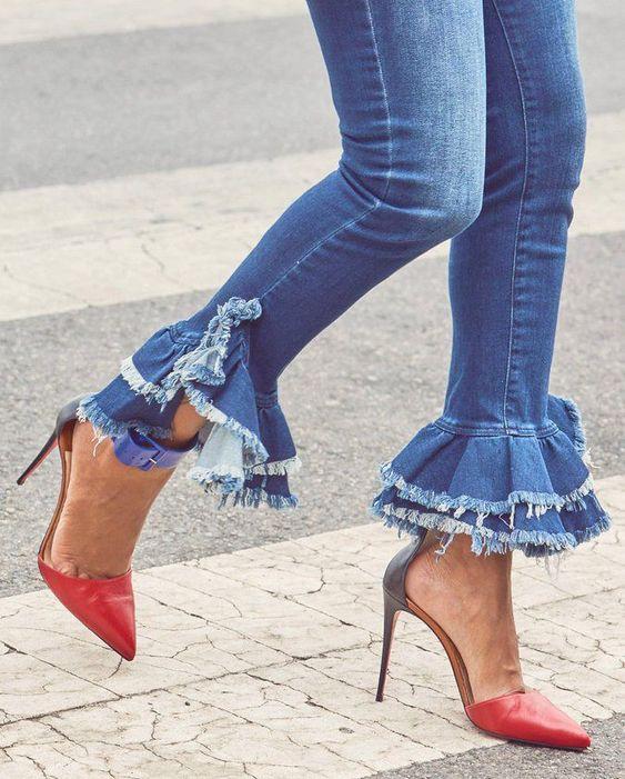 Bas de jeans froncé