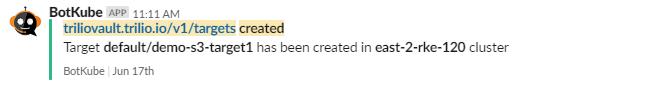 Slack notification for target creation
