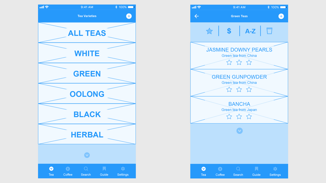 Low fidelity wireframe for mobile app, Broo