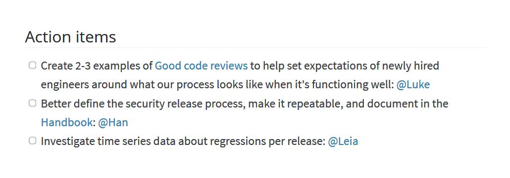 Sprint retrospective tasks