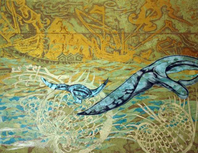Manta, acrylic charcoal woodblock collage on canvas