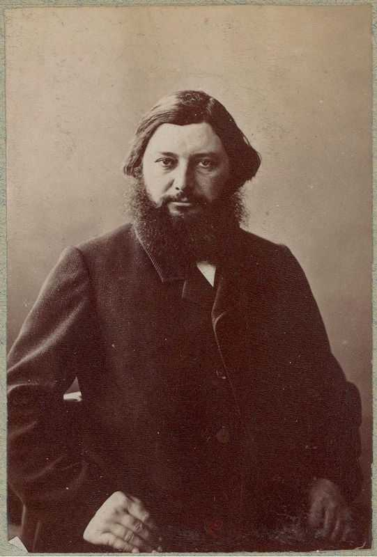 A photograph of Gustave Courbet in 1860 by the French photographer Nadar