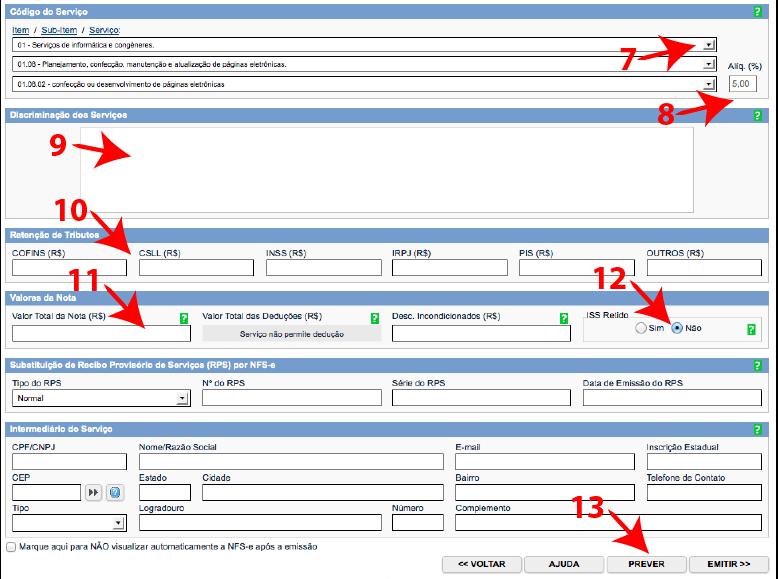 Passos 7, 8, 9, 10, 11, 12 e 13 de como emitir nota fiscal carioca no lucro presumido