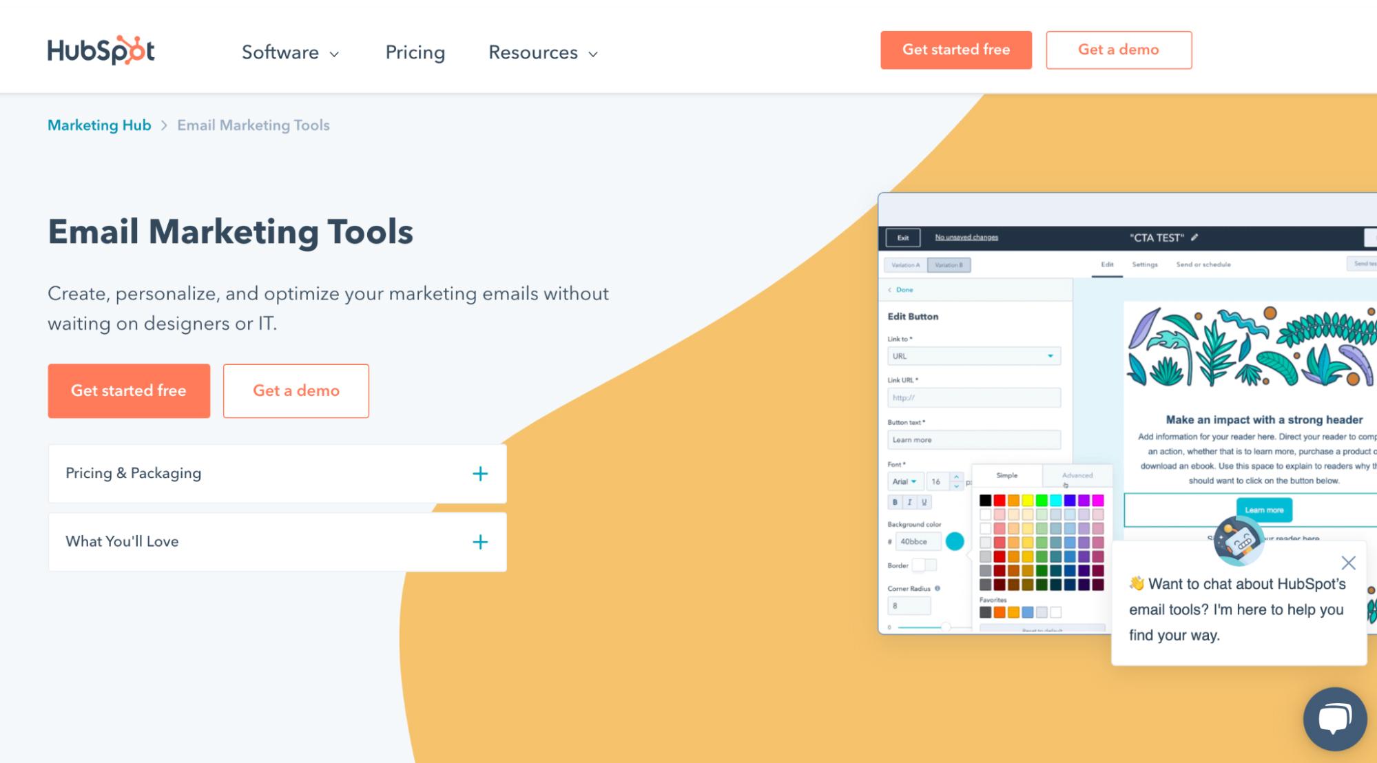 Mailchimp Alternatives: HubSpot Screenshot