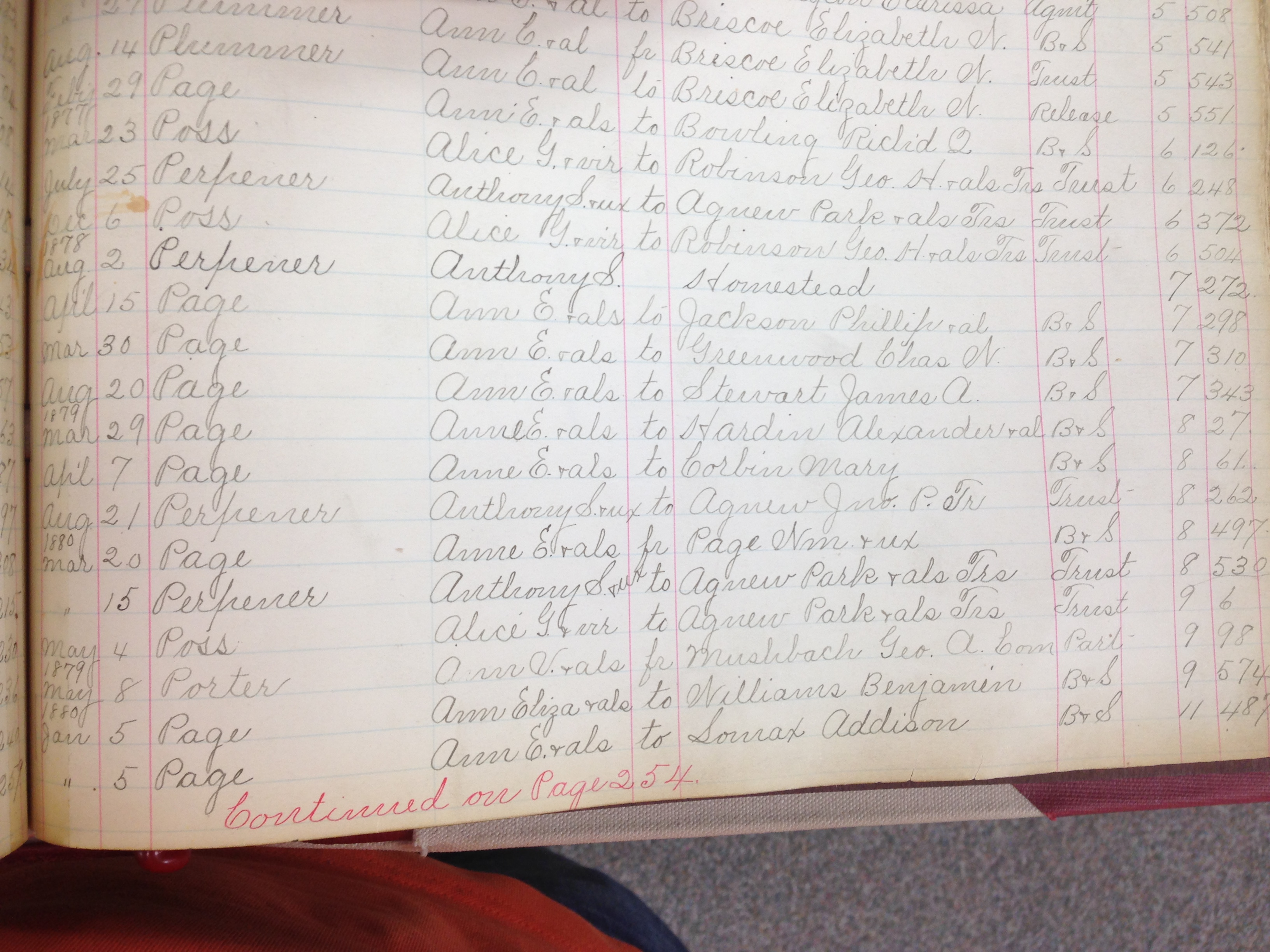 Deeds Ledger open to first page of entries showing Anne Page