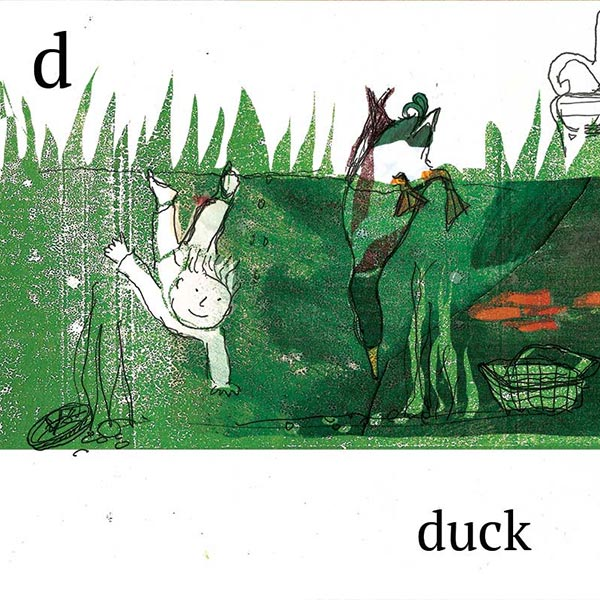D is for duck, illustration for ABC book.