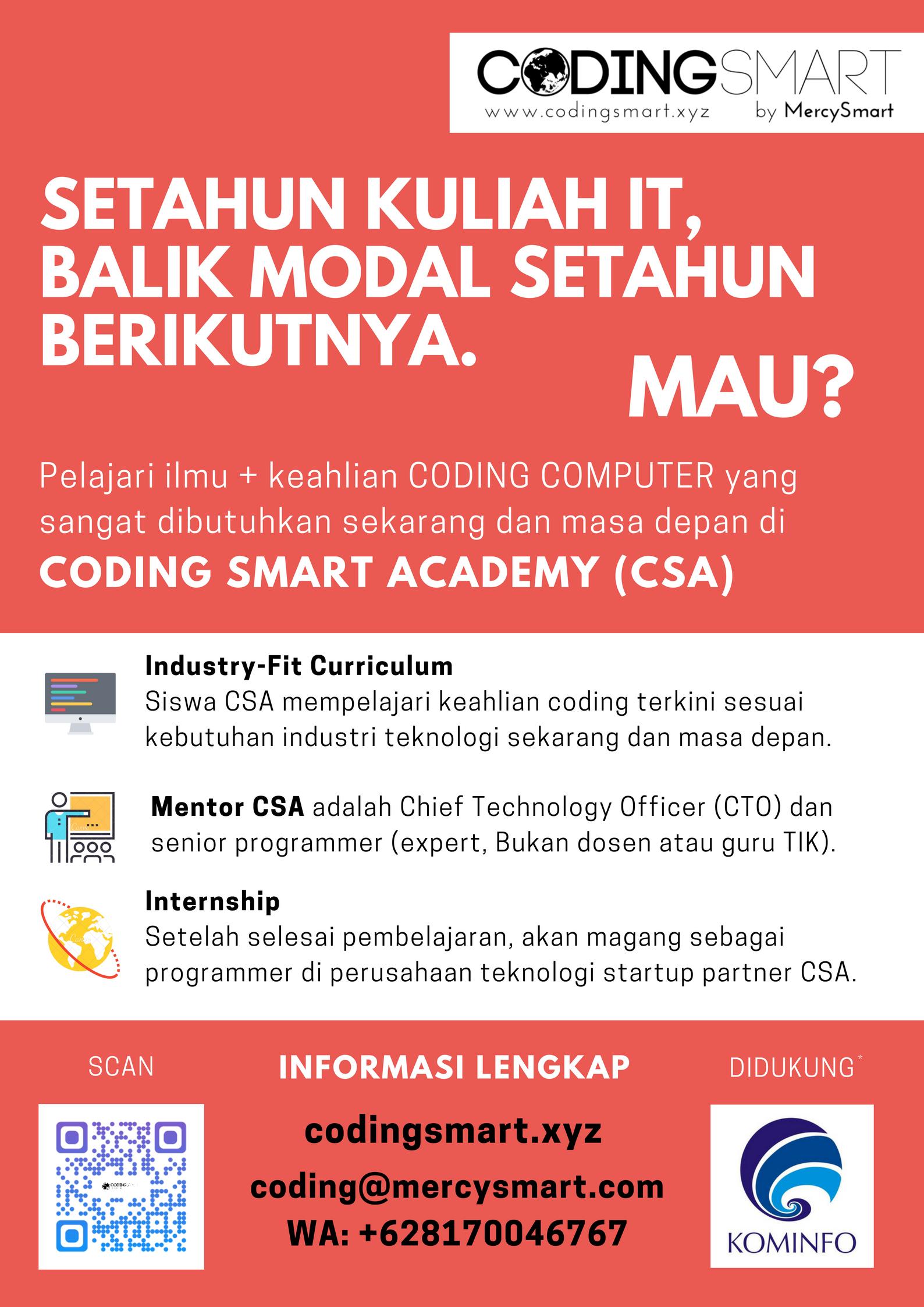 Poster Merah Coding Smart Academy