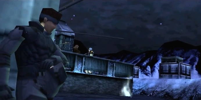 Metal Gear Solid, PSX, Snake hiding behind a tank