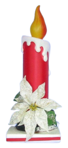 Candle With White Poinsettia photo
