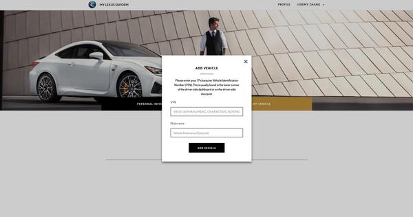 Lexus Driver Add Vehicle