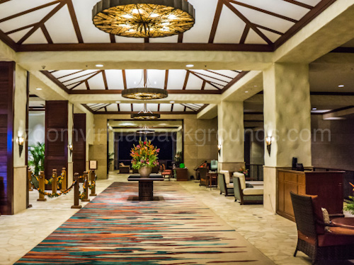 Hotel lobby Virtual Background for Zoom with bright ceilings and colourful carpet