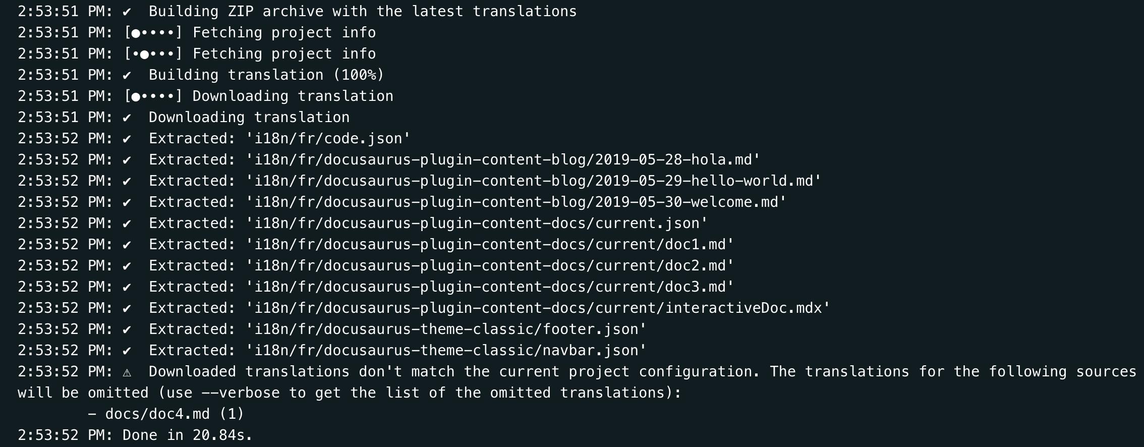 Crowdin CLI : avertissement de traduction de téléchargement