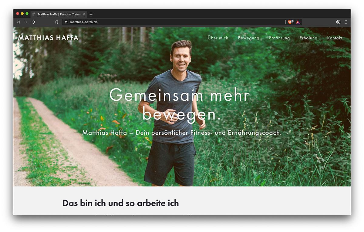 Webseite Matthias Haffa - Webdesign Freiburg KreativBomber