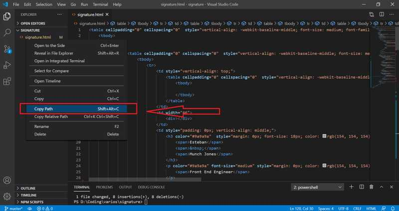 Right click on the file in VS Code and copy the path to the file