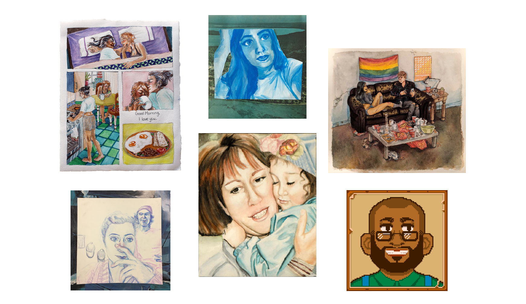 selection of different commissions including works in watercolor, gouache, colored pencil, and digital media.