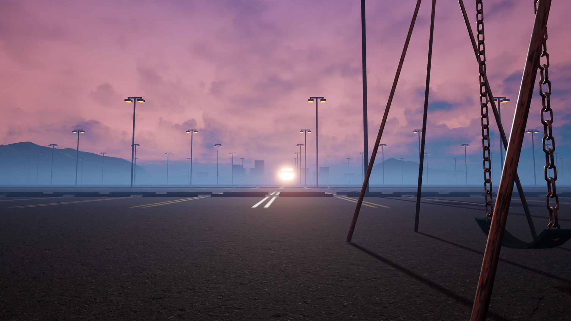 Outdoor parking lot with pink tones in the sunset