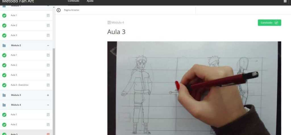 Imagem com o módulo 3 do curso, mostrando o painel do curso.