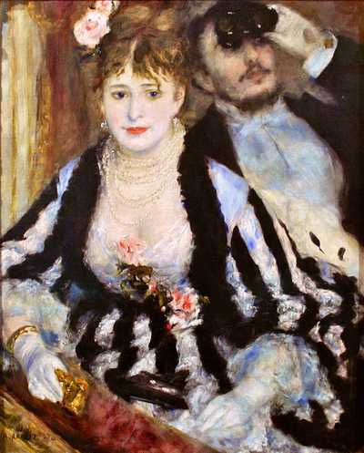 'La Loge (The Theatre Box)' by Pierre-Auguste Renoir (1841-1919) in 1874, currently on display in the Courtauld Gallery