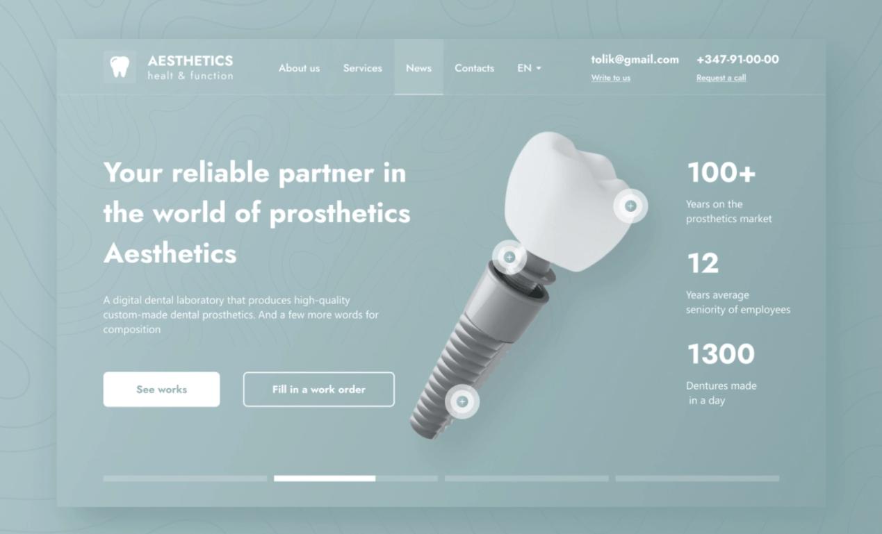 screenshot of website aesthetics dental laboratory