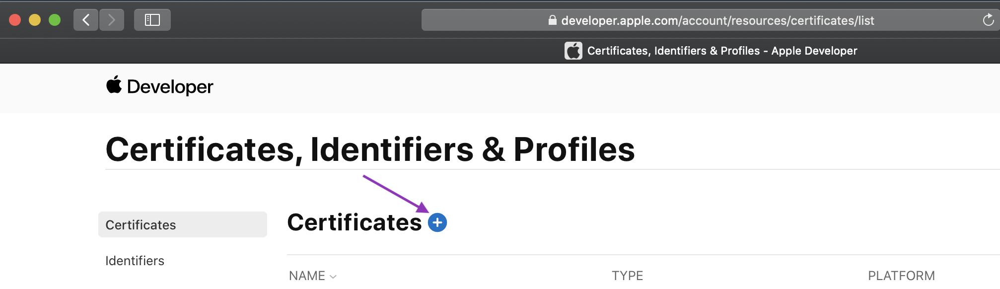 Add certificate button