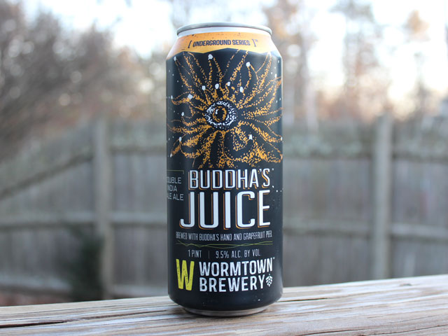 Buddha's Juice, a Double IPA brewed by Wormtown Brewery