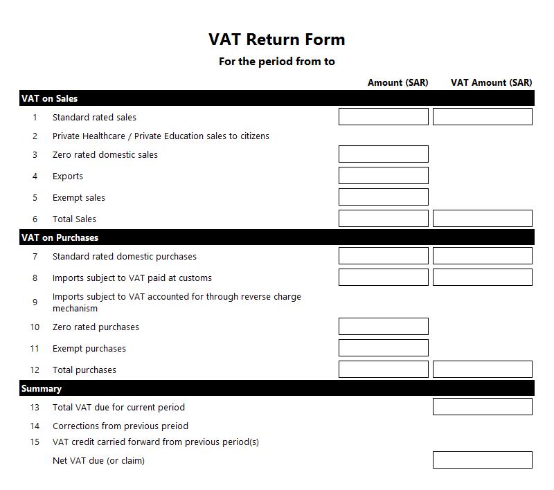 VAT Return Form