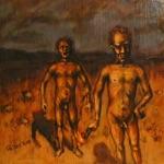 "Priit Pajos, Estonia. ""Burner Brothers"" 2011. Wood, oil, 30x40cm"